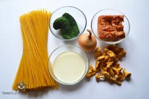 Spaghetti ze szpinakiem, boczkiem i kurkami_01a