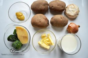 Ziemniaki zapiekane ze szpinakiem i pieczarkami w białym sosie_01a